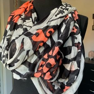 Accessories - Black, orange, white long scarf *Resell*